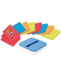 Comprar Dispensador Post-it® azul val  + 8 blocs ZNotas super sticky colores bora bora y bangkok colores surtidos