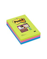 Comprar Pack 3 blocs 101x152mm Notas Post-it® Super Sticky Ultra con Líneas. Colores surtidos. 90 hojas/bloc