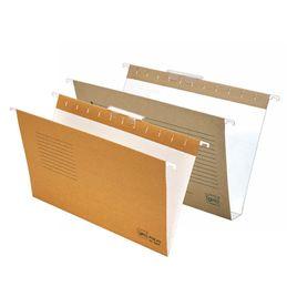 Comprar Pack 25 carpetas colgantes visor superior cristal A4 fondo v kraft bicolor