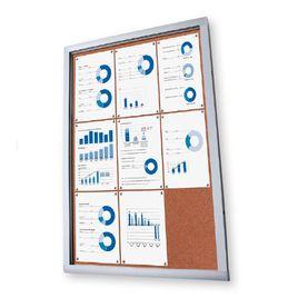 Comprar Vitrina de corcho con puerta abatible y cerradura lateral de cilindro y puerta frontal acrílica 6xA4
