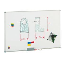 Comprar Pizarra blanca  mural Faibo  acero lacado marco aluminio con cajetín 120x150 cm