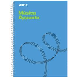 Comprar Cuaderno música Appunto 20h 12 pentagramas-9mm + hoja cuadrícula espiral A4