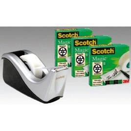 Comprar Pack 4 rollos cinta adhesiva Scotch magic 19mmx33M + Dispensador C60 negro plata
