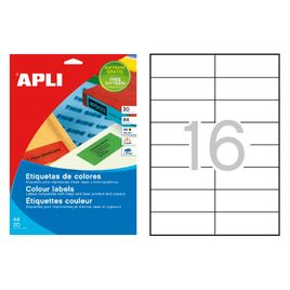 Comprar Pack 320 etiquetas Apli color cantos rectos 105x37mm azul