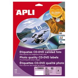 Comprar Pack 20 etiquetas Apli mega CD-DVD glossy Ink-jet/color