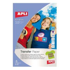 Comprar Pack 5h papel transfer Apli para telas oscuras fotografico Ink-jet A4 blanco