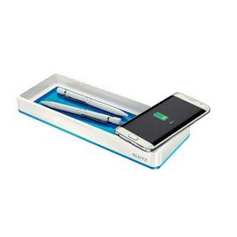 Comprar Organizador de sobremesa Wow con carga inductiva color blanco y azul metalizado