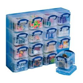 Comprar Organizador Really Useful boxes con 16 cajitas de 0,14 l transparente