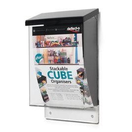 Comprar Buzón de exterior vertical formato Din A5 color cristal transparente con tapa negra