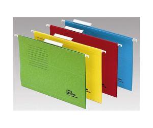 Comprar Pack 50 carpetas colgantes visor superior 65mm lomo V 240g Folio prolongado kraft bicolor